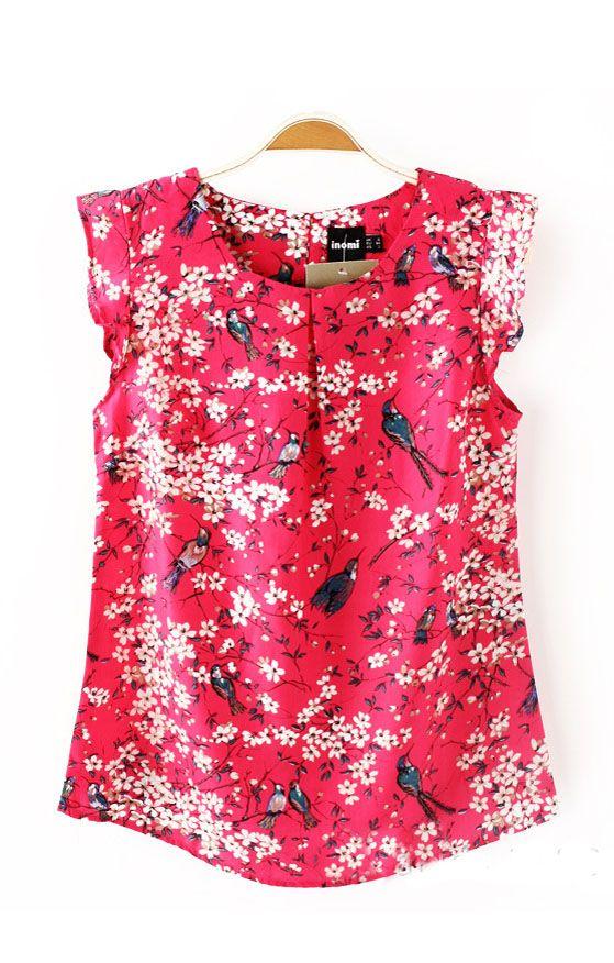 Floral Printing Sleeveless Blouse