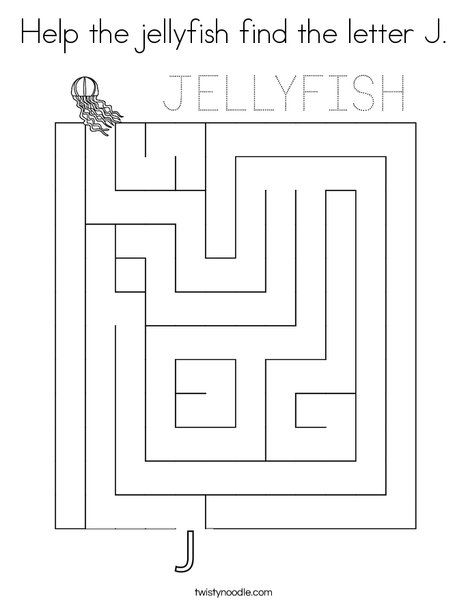 Help the jellyfish find the letter J Coloring Page ...