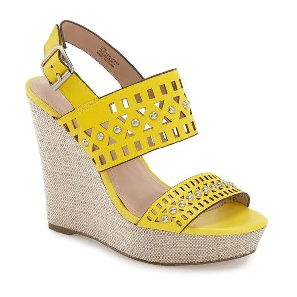 """Charles by Charles David 'Aloof' Wedge Sandal, 4 1/2"""" heel (£83) ❤ liked on Polyvore featuring shoes, sandals, yellow leather, wedge sandals, leather platform sandals, leather wedge sandals, slingback wedge sandals and strappy sandals"""