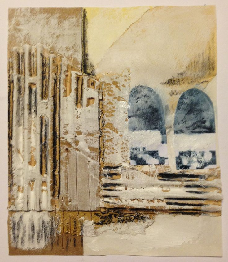 'Elements of Rome' Margaret Hage; collage, cardboard, card, packing paper, copper wire, found images, gesso, charcoal pencil, on heavy paper.
