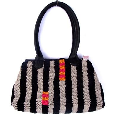 Mielie bag in Ticker 1 design, black stone, cerise and tangerine.