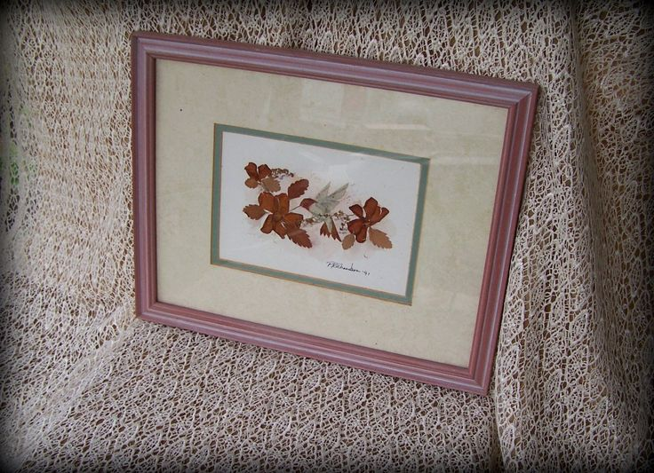 Hummingbird Dried flower collage and Watercolor wall art Patricia Richardson Exhibited artist Mauve,Brown,& Blue-green Professionally Framed by STUFFEZES on Etsy