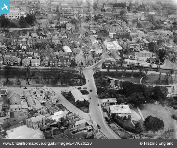 Britain From Above - St Michael and All Angels' Church, Town Bridge (Stade Street), Royal Military Canal, Hythe, Kent, 1929