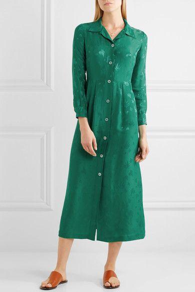 Maje - Jacquard Midi Dress - Forest green -