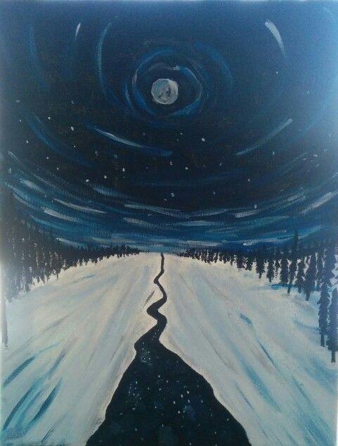 A cold winters night. #Art #Painting #WinterNightPainting
