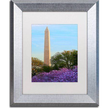 Trademark Fine Art Washington Monument Spring Canvas Art by CATeyes, White Matte, Silver Frame, Size: 11 x 14, Assorted