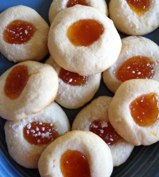 A simple recipe for butter cookies with jelly filling...any flavor of jelly you want!