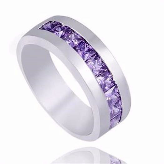 size 8 women's/men's purple cubic zirconia wedding band 925 sterling silver #Unbranded