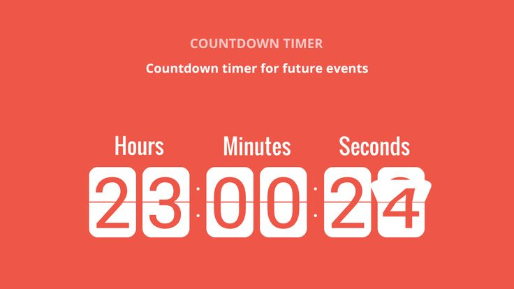The Countdown timer widget allows you to create a countdown clock and embed it into your website. Display the days, hours, minutes or seconds left until any eve