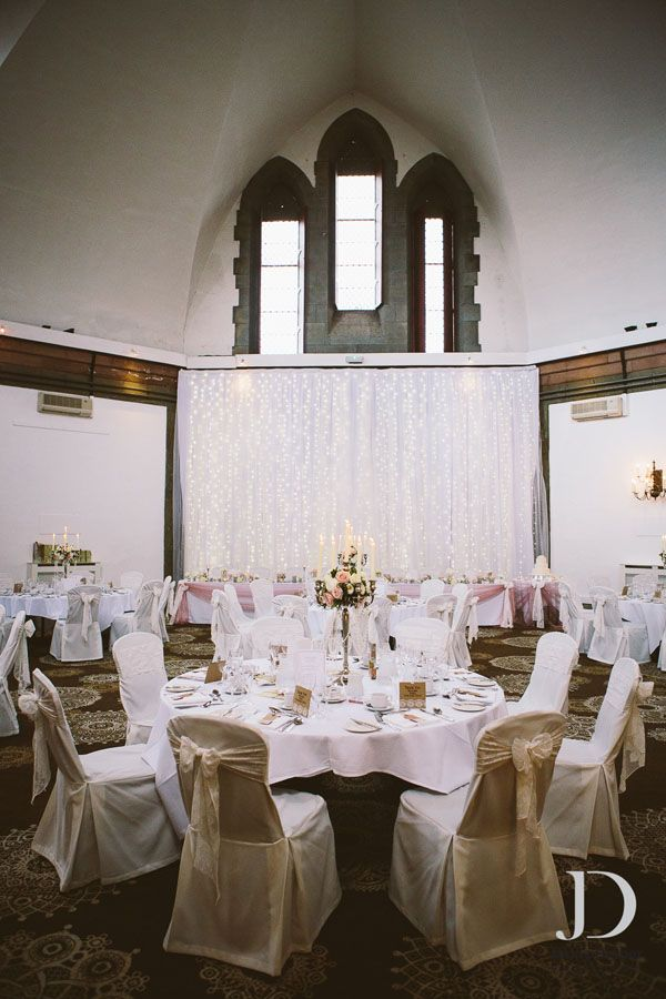 Simple, elegant candelabras and sparkly curtains at Shrigley Hall Hotel. Photo by @Jonathan Griffith Draper x