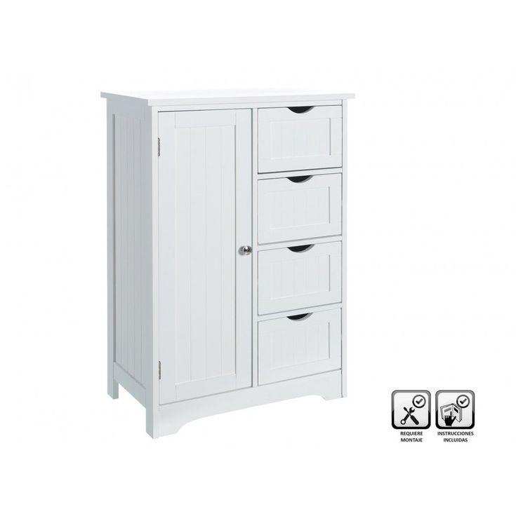 Mueble baño suelo 55x30x81cm 1 puerta 4 cajones #armariosbano #mueblesbano