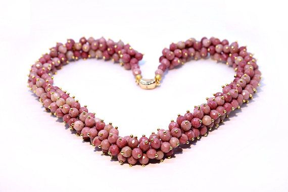 Natural Rhodochrosite Gemstone Bead with 14K by Femalehappiness