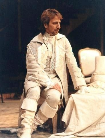 "Alan Rickman as the Vicomte de Valmont in the original (1985) RSC production of Christopher Hampton's stage adaptation of Choderlos de Laclos' ""Les Liaisons dangereuses"""