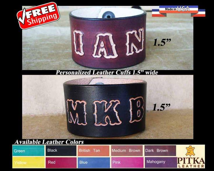 Mens Leather Bracelets Engraved Leather Bracelets by PitkaLeather