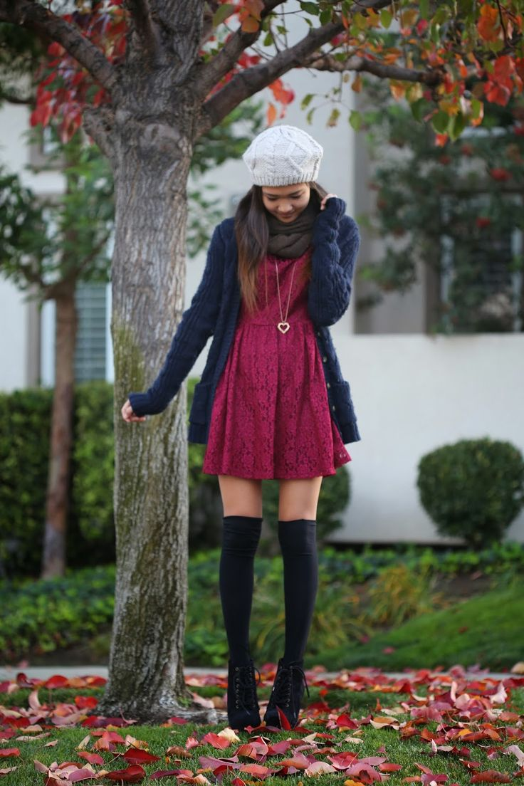 Burgundy lace dress, navy long cardigan, black knee high socks, black booties. Shop