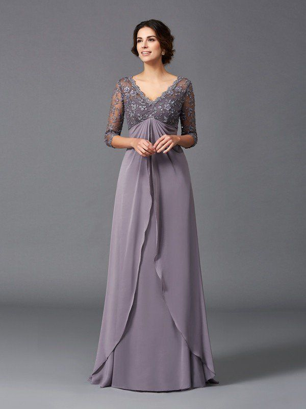 d60dfae2f2 A-Line Princess V-neck Lace 3 4 Sleeves Long Chiffon Mother of the Bride  Dresses - Hebeos Online