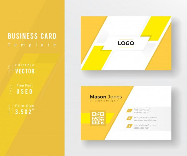 Abstract Business Card With Yellow Color Elegant Business Cards Design Business Card Template Design Business Cards Creative Templates