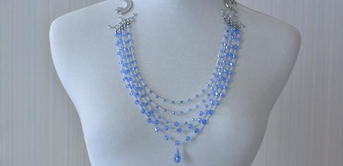 How to Make a Multi-Strand Blue Glass Bead and Seed Bead Necklace