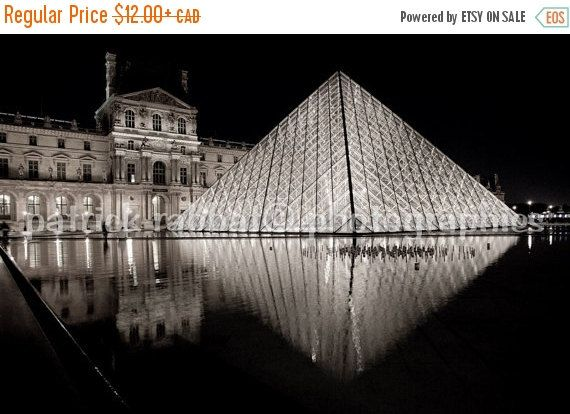 Louvre Pyramid Photo Paris at night by PatrickRabbatPhotos on Etsy