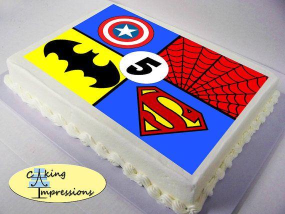 Superhero Logo Edible Image Cake Topper Batman Superman ...