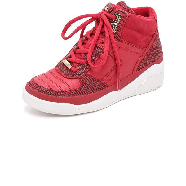 DKNY Connie High Top Sneakers (495.040 COP) ❤ liked on Polyvore featuring shoes, sneakers, red, red high top sneakers, lace up sneakers, dkny shoes, hi tops and red shoes