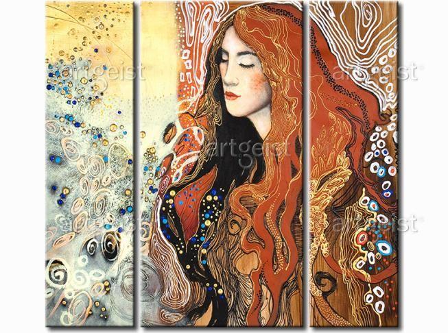 Obraz ręcznie malowany inspirowany malarstwem secesyjnym #obrazy #recznie #malowane #tryptyki #dekoracje #ścienne #sztuka #malarstwo #wnętrza #inspiracje #secesja