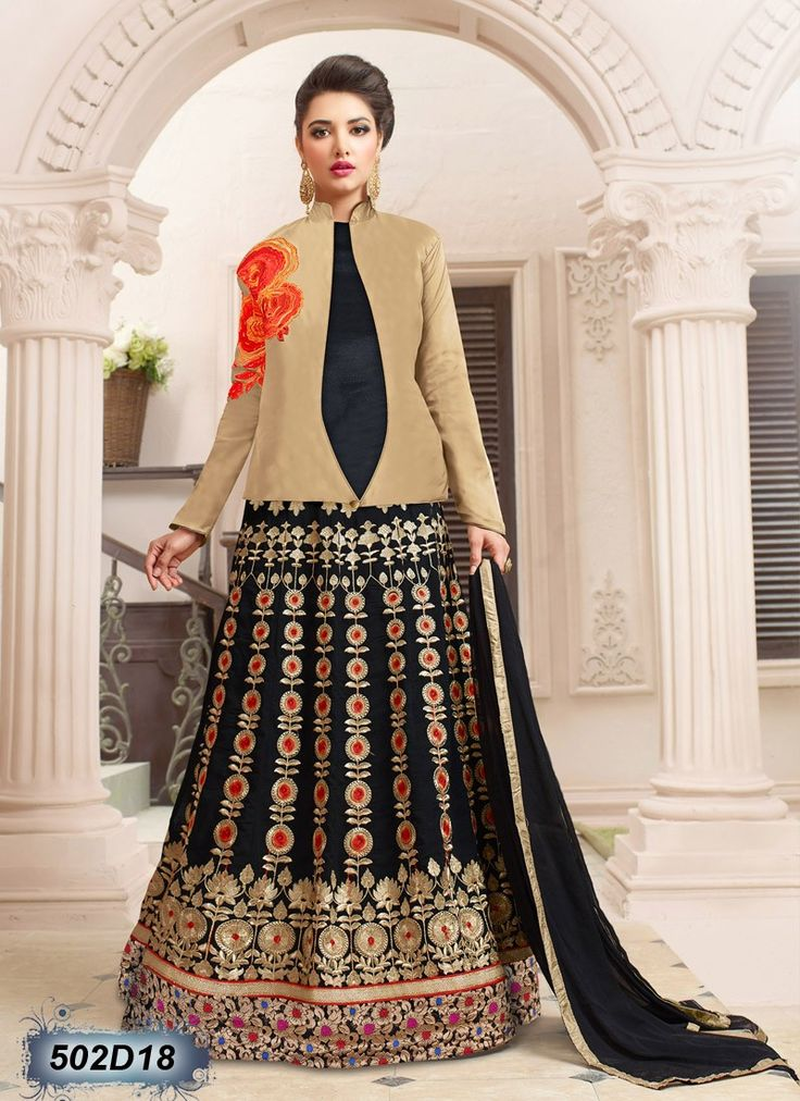 Buy Beige and Black Colored Net and Georgette Semi-Stitched Designer Salwar Suit Get 30% Off on Designer Salwar Suits From Leemboodi Fashion with Free Shipping in INDIA Use Coupon Code: RAKHI15 to Get 15% off on Every Product of Leemboodi Fashion Now Available on Cash On Delivery
