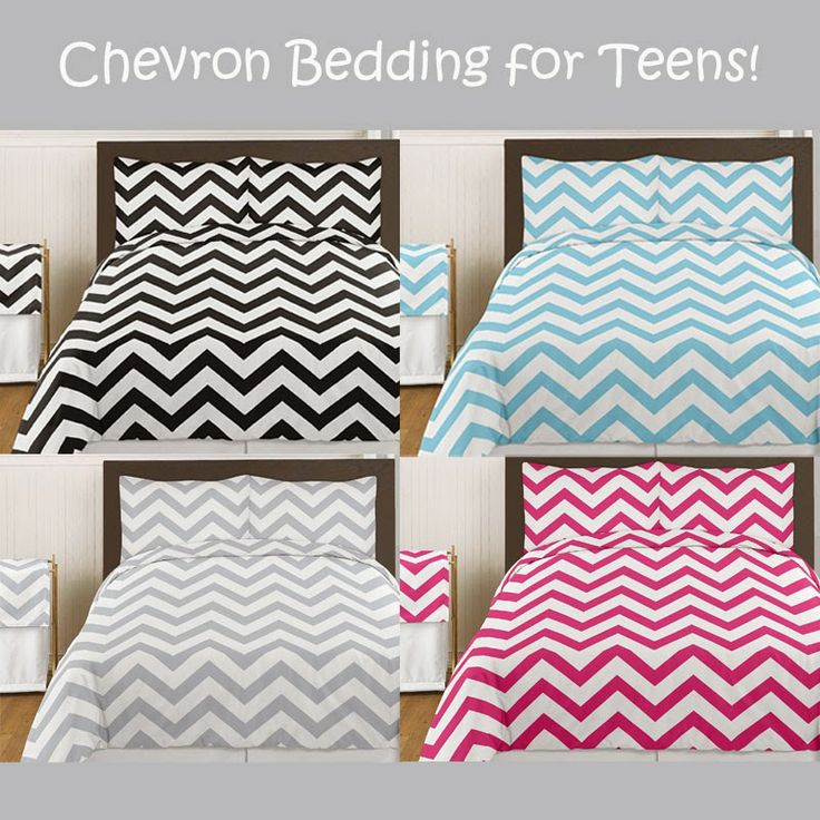 Chevron Bedding for Teens. Love these colors and large chevron print!