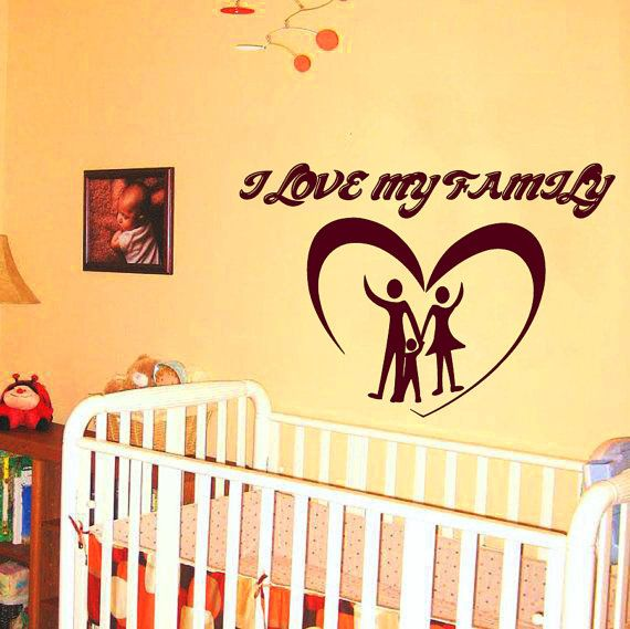 Famiglia parete Decals amo mia famiglia citazione vinile adesivo biancheria da letto bambini camera Wall Decor Casa progettazione interni arte Baby Nursery Room Decor KG138