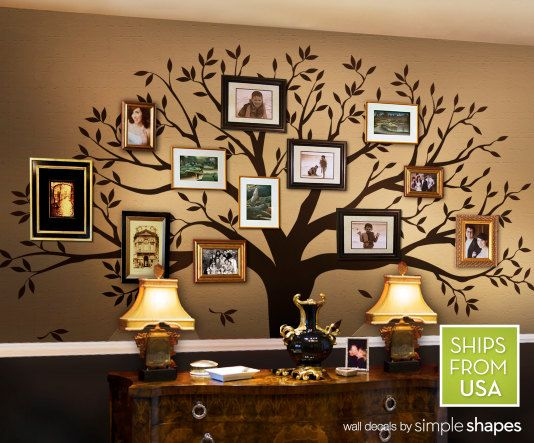 Vinyl wall decal of family tree with picture frames of family members. Beautiful for my dream home! $150 via Etsy
