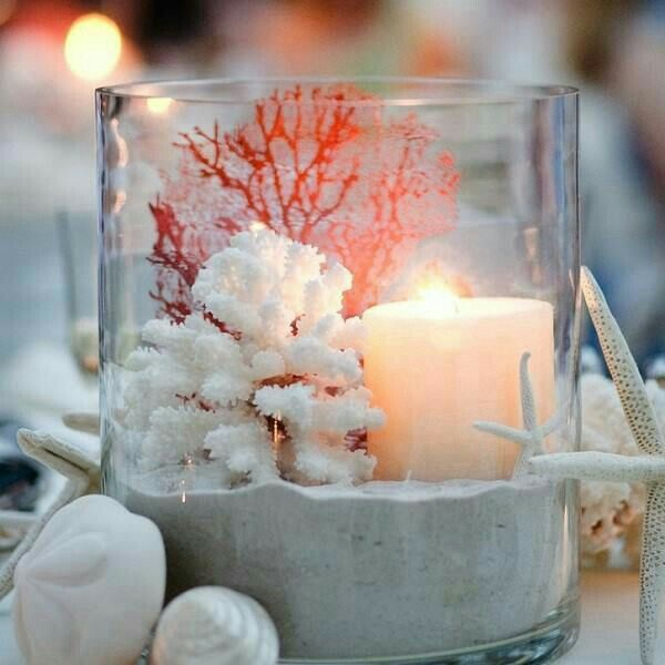 Coral candle glass lantern center piece
