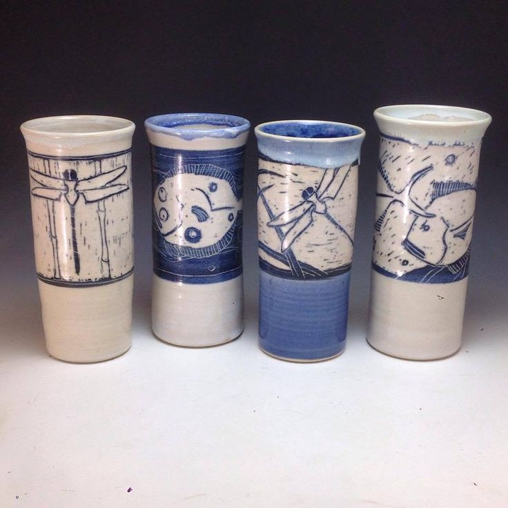 19-20 oz Tumblers with stylized sgraffito design Anne Webb #sgraffito #pottery #tumblers #dragonfly #flounder #jackfish #vase #webbpottery