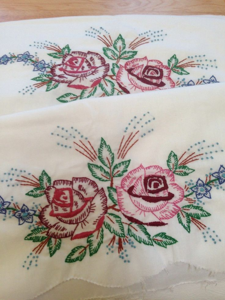 Vintage Cross Stitches Embroidery Embroidered Pillowcases Punch Needle Fabric Painting Stitching Dish Towels In Living Color Ideas
