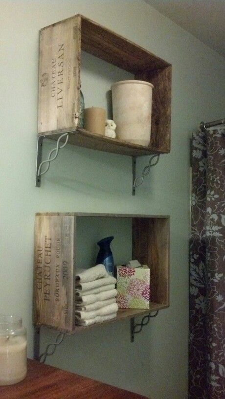 Wine crate shelves.  I'm not big on the brackets, but great way to use the old crates, with such cool graphics.