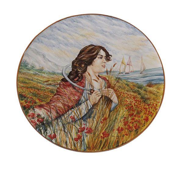 """Piatto in ceramica ø 70 cm - Omaggio a Cascella """"La mietritrice"""" di Giuseppe Liberati www.liberati.net www.liberartearti..."""