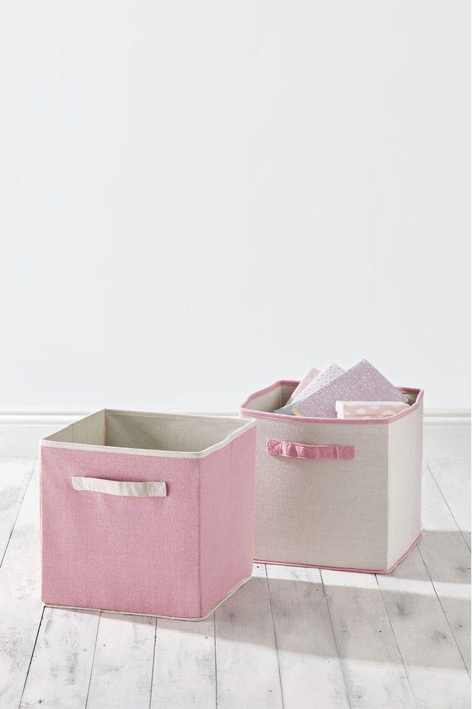 Next Set Of 2 Storage Cubes Pink Cube Storage Cute Storage
