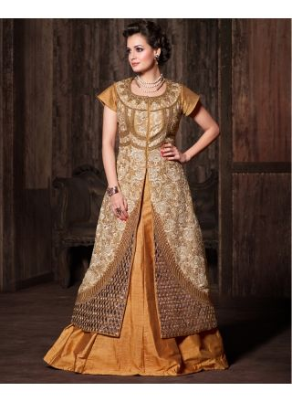 Gold With Cream Embroidery Work Banarasi Silk Lehenga  Choli http://www.angelnx.com/