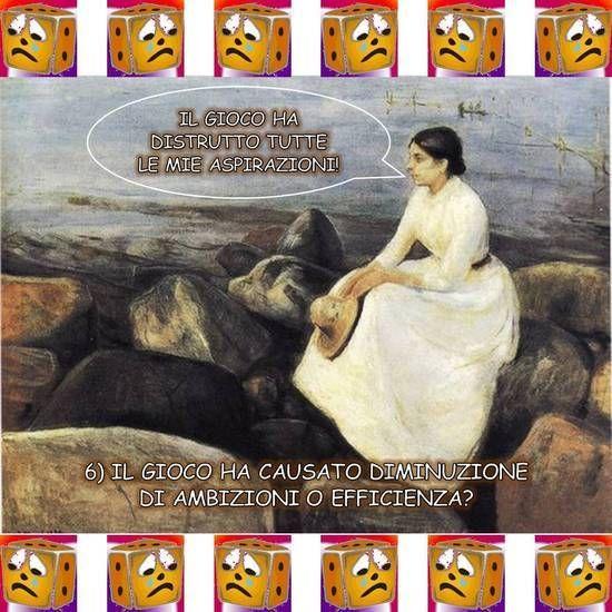 """IL GIOCO HA DISTRUTTO TUTTE LE MIE ASPIRAZIONI! Libera rivisitazione dell'opera """"Inger sulla spiaggia"""" di Edvard Munch (1889), suggerita dalla sesta domanda di Giocatori Anonimi: """"Il gioco ha causato diminuzione di ambizioni o efficienza?"""". Dalla raccolta """"Anche i quadri te lo chiedono"""" di Vittorio Gioco: rielaborazione a fumetti di dipinti guidata delle venti domande di Giocatori Anonimi."""