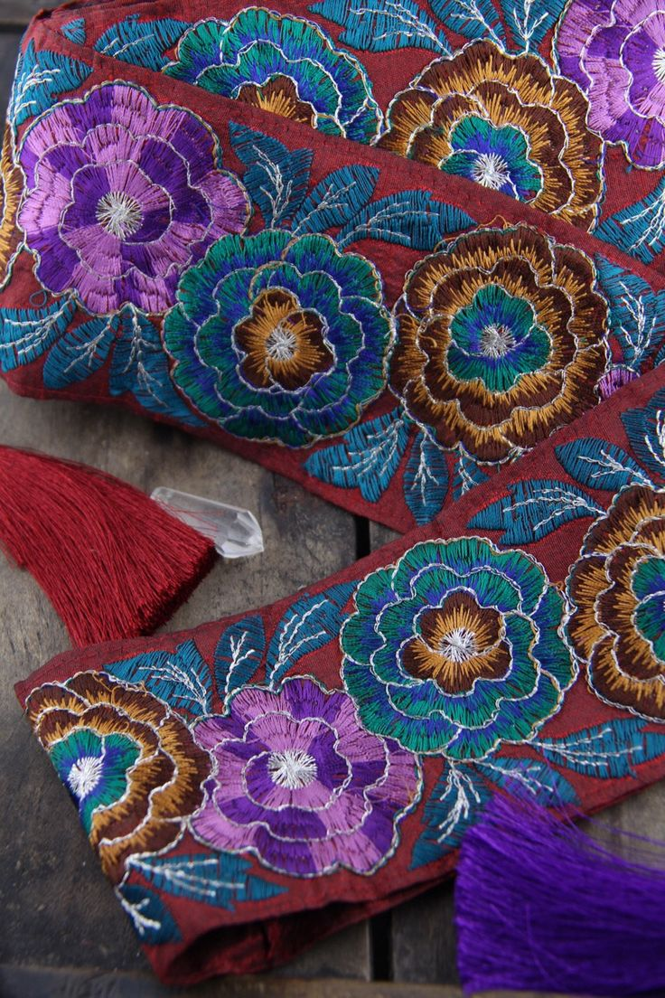"""Fall Festival: Burgundy, Teal, Purple Embroidered Silk Trim, Ribbon, Sari Border, India, 3.5""""x1 Yard, Rich Color Floral Craft, Sewing Supply"""