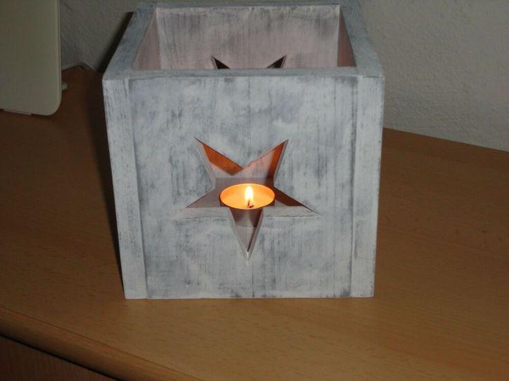 Laterne Holz Handwerk massiv Windlicht Stern Shabby romantisch Echt Sepp