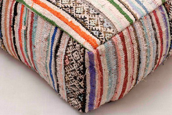 Moroccan Kilim Pouf Ottoman Berber Floor Cushion Floor Pillow