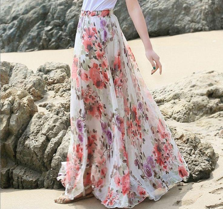 Floral Long Chiffon skirt Maxi Skirt Ladies Silk Chiffon Dress Holiday Beach Sundress by LYDRESS on Etsy
