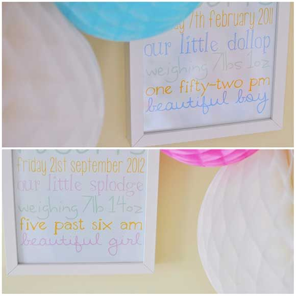 Framed art works with all of her children's birth details on from our friend and blogger LucyNurseries Inspiration, Art Work, Children Births, Births Details, Bloggers Lucy, Beautiful Nurseries, Frames Art, Beautiful Baby, Baby Nurseries