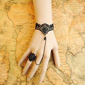 Handmade Black Lace Obsidian Crown Gothic Lolita Bracelet