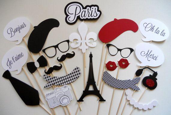 """Lustige Accessoires zum Thema """"Französische Hochzeit"""" für eine Photo Booth  über etsy Paris Photo Booth Props"""
