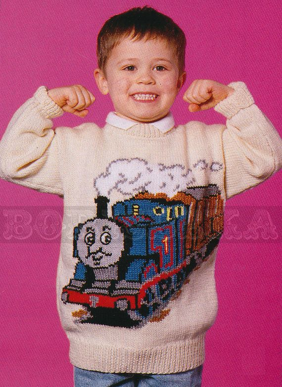 Knitting Pattern For Oxfam Jumper : vintage THOMAS the TANK Engine jumper knitting by borisbeka, USD3.75 Children...