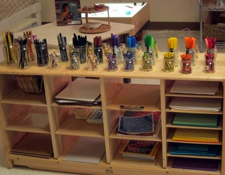 Beautiful display of art and drawing materials at Peachtree Presbyterian Preschool