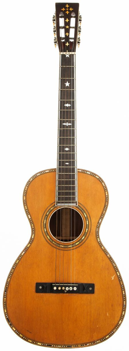 1920's Chicago Made Natural Parlor Guitar. Most likely a Washburn or Regal. Very fancy inlay. Rosewood back and sides. Spruce top.