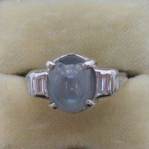 Star Sapphire and Diamond engagement ring