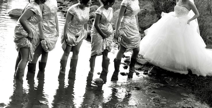Bride & Bridesmaids in the mud